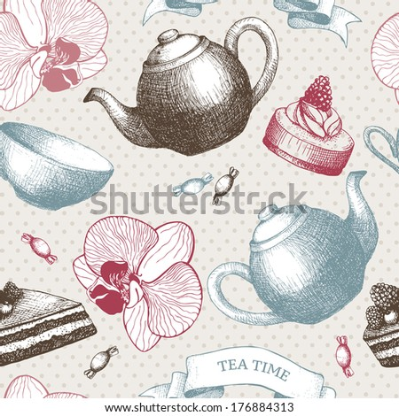 Hand drawn sweet cakes, candies, ice cream and teapot background. Vector seamless vintage pattern on spotted background - stock vector