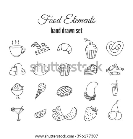 Hand drawn sweet pastry set. Bakery vector elements sketch. Excellent for creating your own menu design. Fruits vector doodles. - stock vector