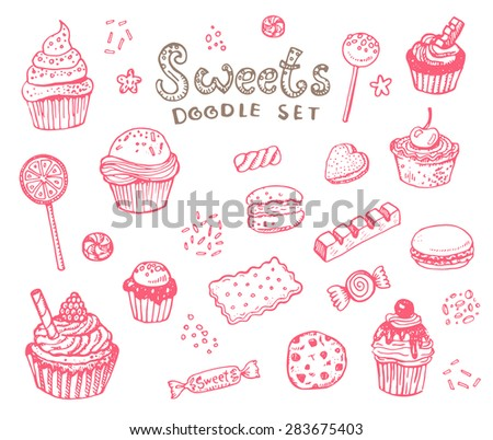 Hand drawn sweets doodle elements set with candies, cupcakes, cookies, chocolates, lollipops and macaroons - stock vector