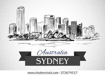 Hand drawn Sydney cityscape on white background - stock vector