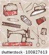 Hand-drawn tailoring set - stock vector