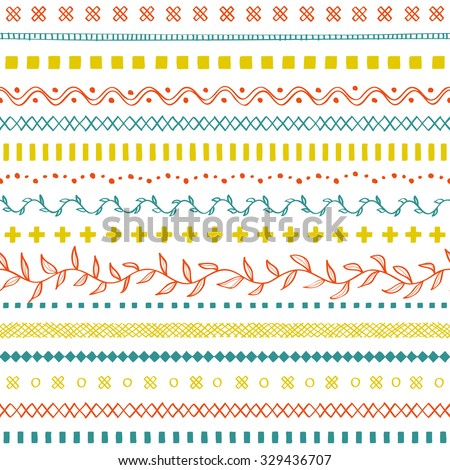 Hand drawn tangling seamless on white background.  - stock vector