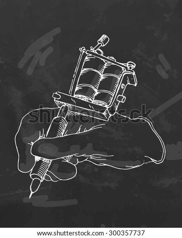 Hand drawn tattoo machine. Vector illustration. - stock vector