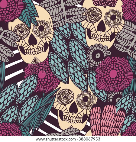 hand drawn tattoo mexican scull floral ornamental seamless pattern - stock vector