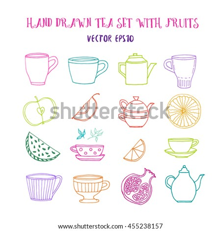 Hand drawn tea set with colored tea pots, tea cups and fruits. Vector stock illustration. Elements for menu for restaurants and cafe.  - stock vector