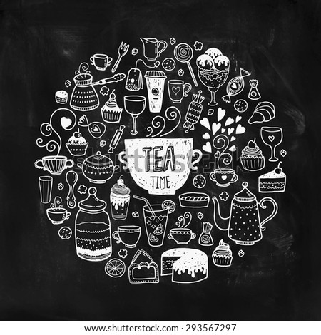 Hand drawn tea time illustration, vector doodle set with teapots, glass, cupcake, decoration, tea, ice cream, cup and sweets of a circle on chalkboard - stock vector