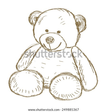 Hand drawn Teddy bear doodle Vector illustration - stock vector