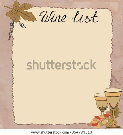 """Hand drawn template with grapes and wine glasses on brown kraft """"paper"""". It can be used for weddings, event invitations, menus, card, wine list. Vector. - stock vector"""