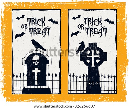 Hand drawn textured Halloween card with tombstones, ravens, and bats - stock vector