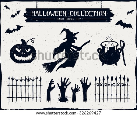 Hand drawn textured Halloween set of a witch, jack-o-lantern, cauldron, and zombie hands illustrations. - stock vector