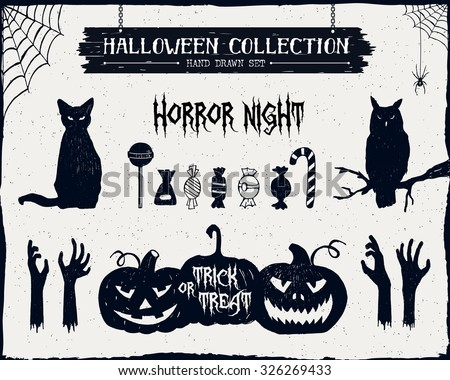 Hand drawn textured Halloween set of black cat, owl, candies, zombie hands, and jack-o-lanterns illustrations. - stock vector