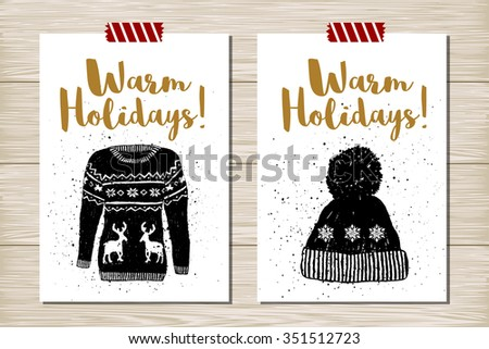 Hand drawn textured New Year card with Christmas sweater and knitted hat vector illustrations. - stock vector