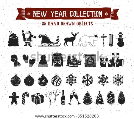 Hand drawn textured New Year icons set with Santa Claus bag, sleigh, deer, polar bear, snowman, Christmas tree balls, snowflakes, pine cones, fir trees, knitted hat, mittens, scarf vector icons. - stock vector