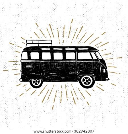 Hand drawn textured vintage icon with minivan vector illustration. - stock vector