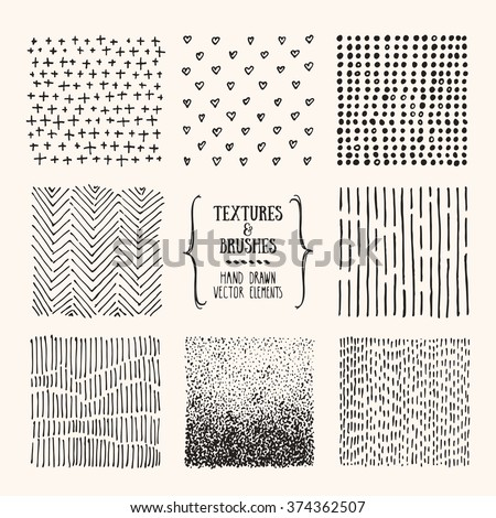 Hand drawn textures and brushes. Artistic collection of design elements: dots, hearts, brush strokes, paint dabs, wavy lines, abstract backgrounds, patterns made with ink. Isolated vector. - stock vector