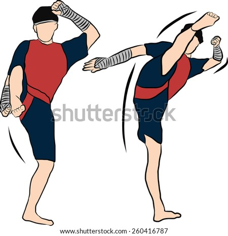 hand drawn Thai martial arts muay thai  body weapon - stock vector