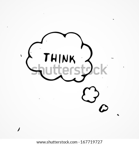 Hand drawn think bubbles - stock vector