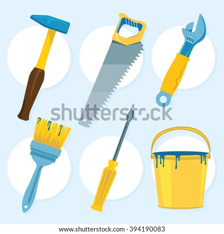 Hand drawn tools - colorful vector set of 6 pieces - stock vector