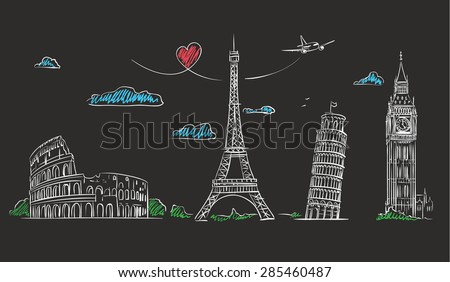 Hand drawn tourist collage with sights of Europe on blackboard. Vector Illustration - stock vector