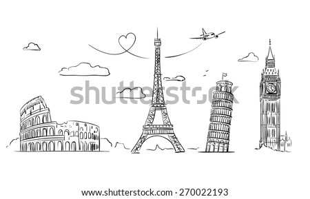 Hand drawn tourist collage with sights of Europe. Vector Illustration - stock vector