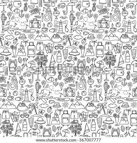 Hand drawn travel seamless pattern. Vector illustration of doodle travel and tourism seamless pattern - stock vector