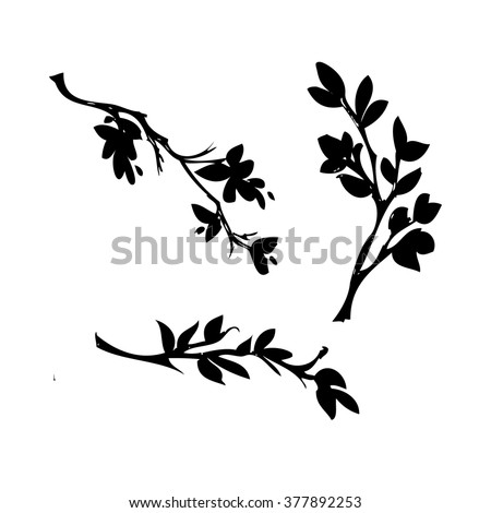 Hand drawn tree branches with leaves. Branch silhouettes. Card, print, poster template. Set of graphic design elements. Vector illustration - stock vector