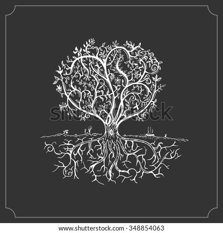 Hand drawn tree isolated sketch in vintage style. Vector illustration - stock vector