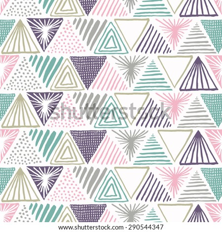 Hand drawn triangle seamless pattern. Vector illustration. - stock vector