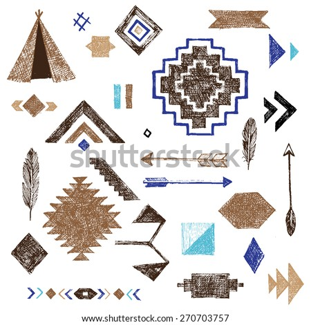 Hand drawn tribal elements set on white background - stock vector