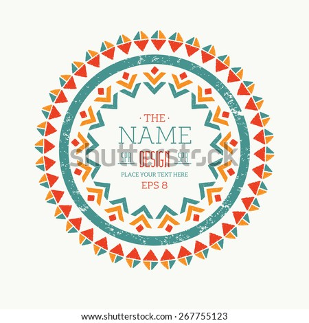 Hand drawn tribal round composition. Vector illustration - stock vector