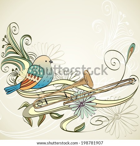 hand drawn trombone on a light background - stock vector