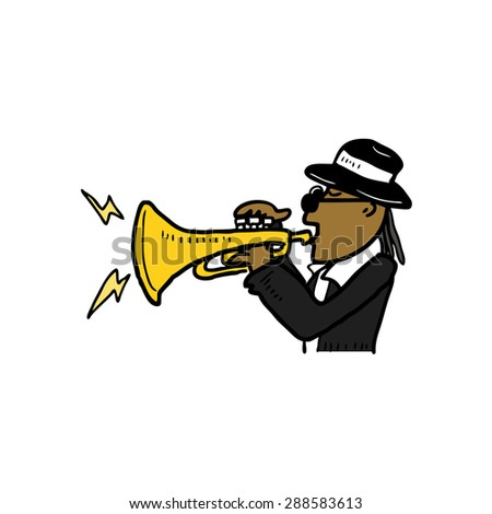 hand drawn trumpet player - stock vector