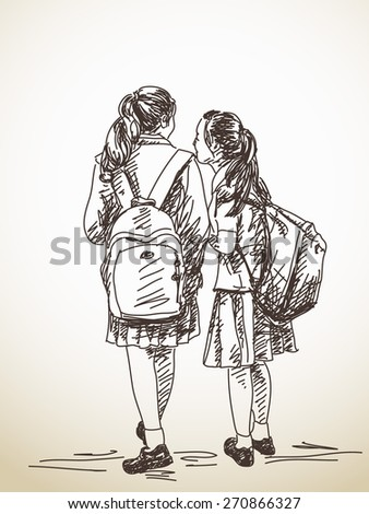 Hand drawn two schoolgirls friends with backpack Vector sketch - stock vector