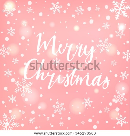 Hand drawn typography card. Merry christmas greetings hand-lettering isolated on blured background. Vector illustration. Vintage christmas label on christmas snowflakes blurred background. - stock vector