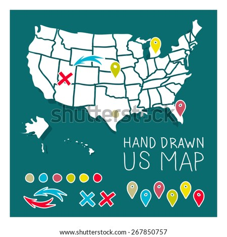 Hand drawn US map travel poster vector illustration - stock vector