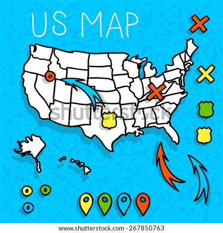 Hand drawn US map with map pins vector illustration - stock vector