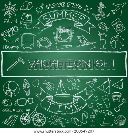 Hand drawn vacation icons set, green chalk board effect. Vector illustration. - stock vector