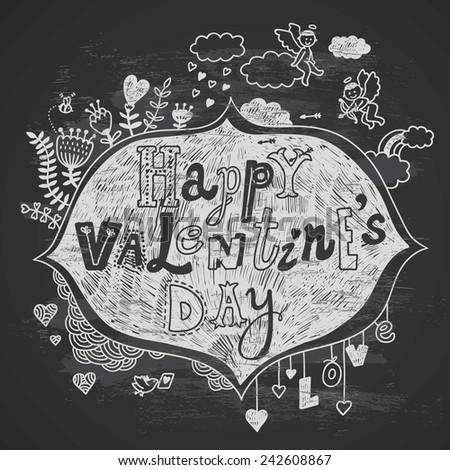 hand-drawn Valentine's card on chalkboard - stock vector
