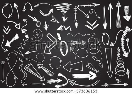 Hand drawn vector arrow collection - stock vector