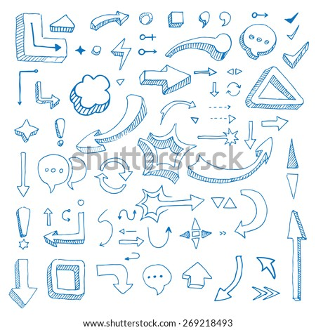 Hand drawn vector arrow collection isolated on lined paper - stock vector