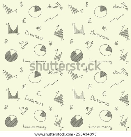 Hand drawn vector background or pattern with business planning doodles elements. Seamless. - stock vector