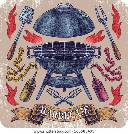 Hand-drawn vector barbecue. - stock vector