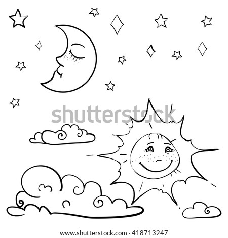 hand drawn vector children's coloring book with moon, sun, cloud, stars. vector eps 10 - stock vector