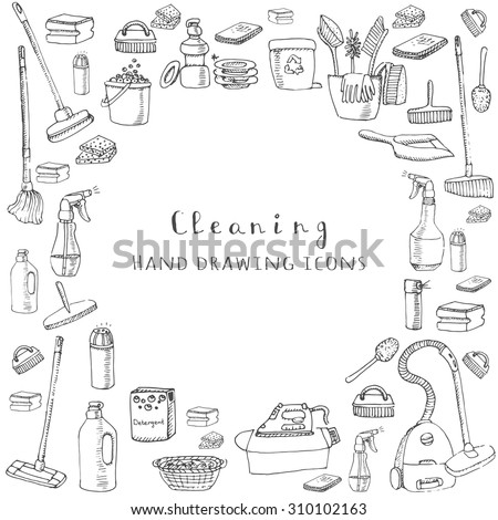 Hand drawn vector cleaning service icons, Cleaning symbols, tools, Detergent, iron, mop, dust pan, brushes bleach, duster, washing liquid, vacuum cleaner, doodle icons, sketch - stock vector