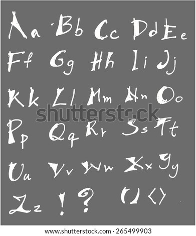 Hand drawn vector doodle alphabet letters - stock vector