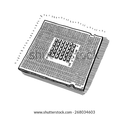 Hand-drawn vector drawing of the the processor for computer.  Black-and-White sketch on a transparent background. - stock vector