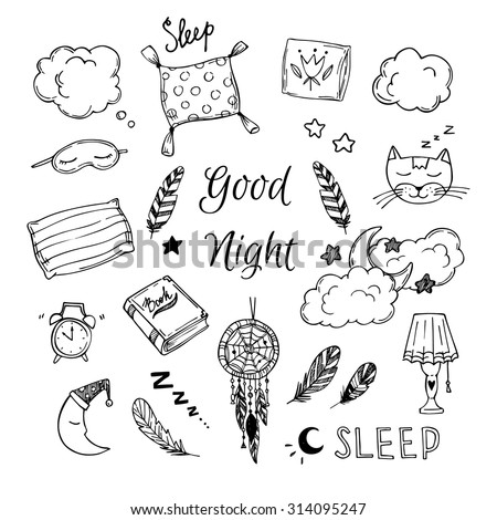 Hand Drawn vector elements - Good night (dreamcatcher, sleeping moon, pillows, feathers, book, lamp, sleeping cat and more). - stock vector