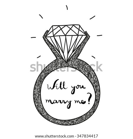 hand drawn vector engagement ring with text will you marry me - stock vector