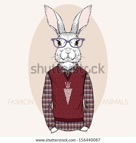 Hand Drawn Vector Fashion Illustration of Bunny Hipster - stock vector