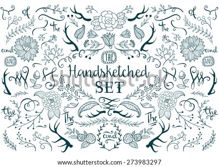 Hand-drawn vector floral design elements in rustic style. - stock vector